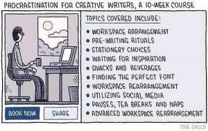 "Cartoon, ""Procrastination for creative writers"""