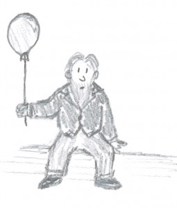Brahms cartoon with a balloon