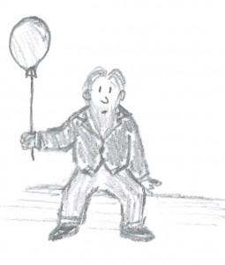 Brahms cartoon with a balloon