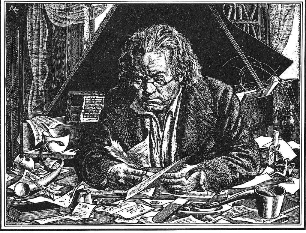 Beethoven at his desk (engraving)