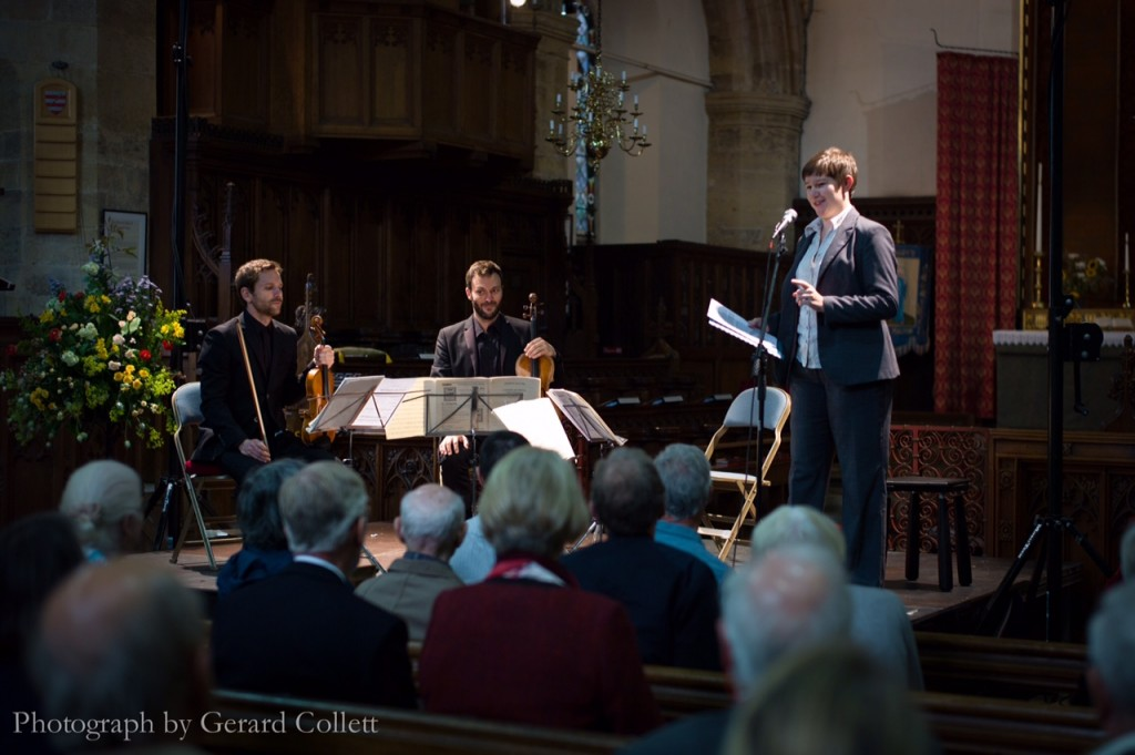 Katy with members of the Heath Quartet, introducing a concert at Ryedale