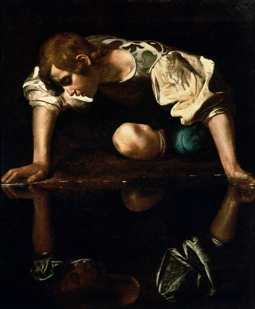 Caravaggio's 'Narcissus', gazing at his reflection in the water