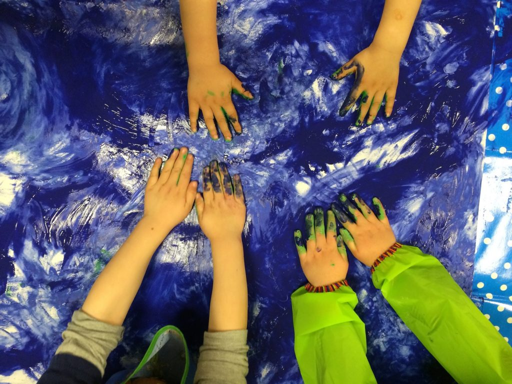 Children's hands on painting project
