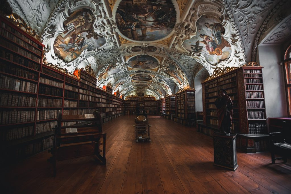 Library with decorative ceiling