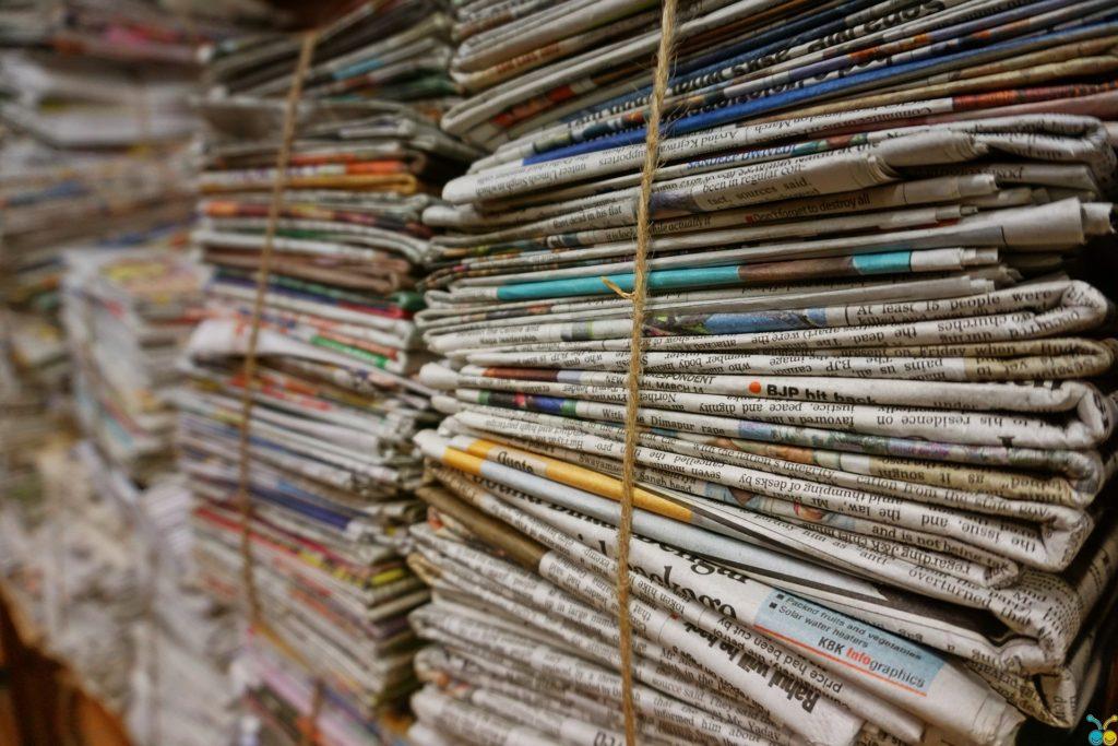 Tied up bundles of newpapers