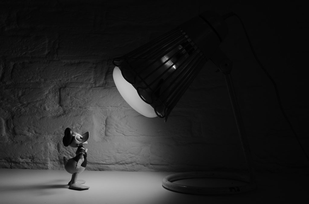 Donald Duck model in a spotlight