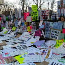 A collection of signs and placards from a women's march