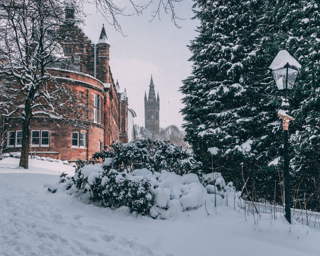 University of Glasgow in the snow