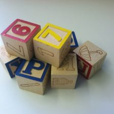 Children's toy blocks with letters and numbers